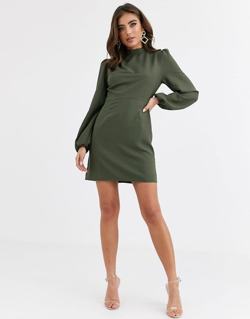 ASOS DESIGN Long Sleeves High Neck Mini Dress