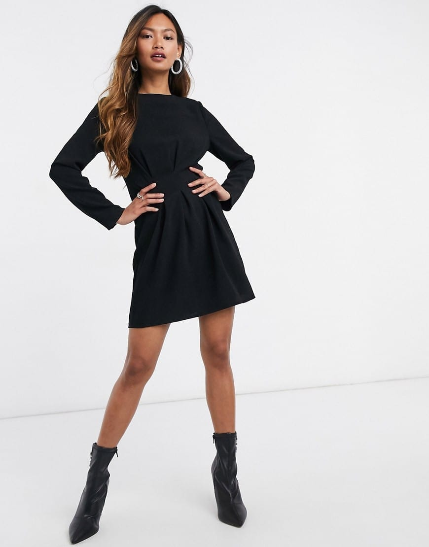 ASOS DESIGN Nipped In Waist Long Sleeve Mini Dress