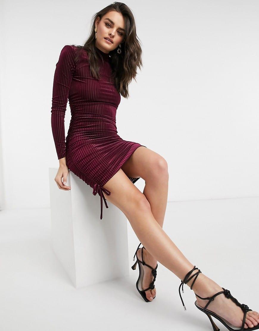 ASOS DESIGN Padded Shoulder Velvet Rib Strappy Back Mini Dress
