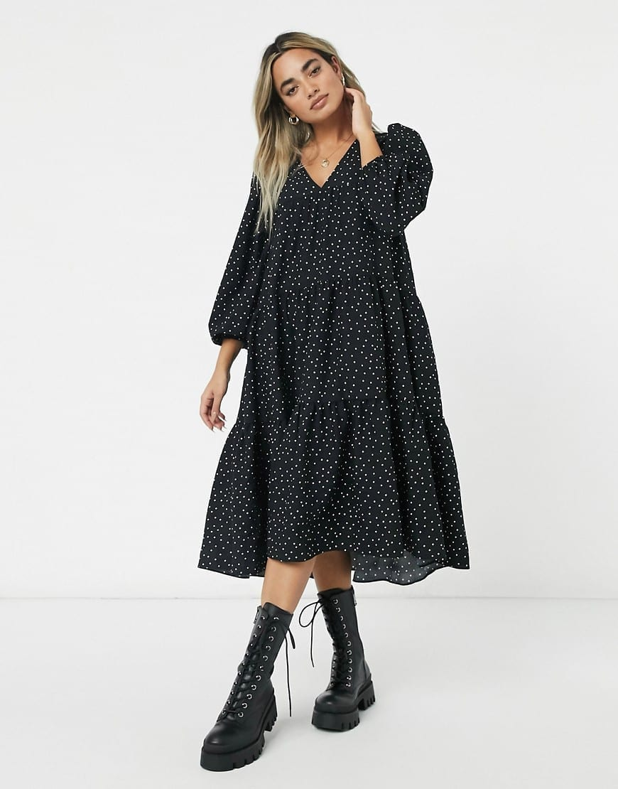 ASOS DESIGN Petite Textured Tiered Midi Smock Dress