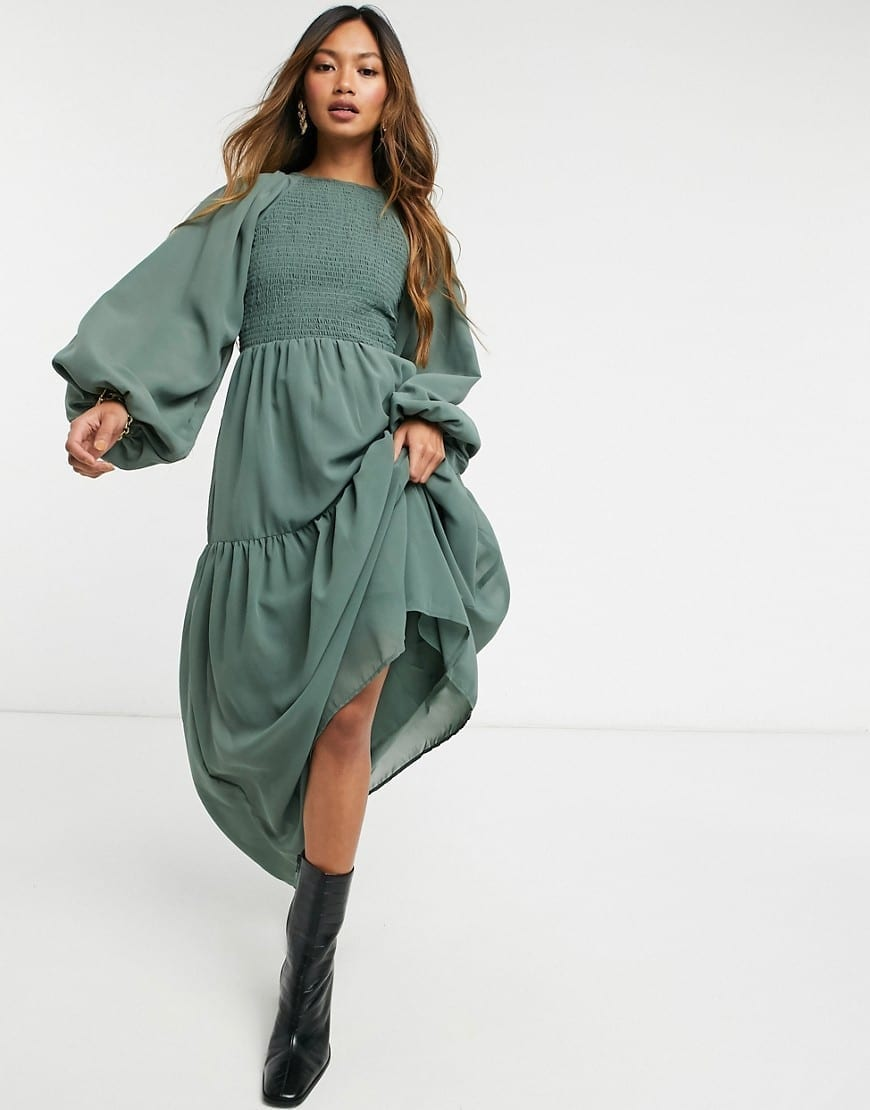 ASOS DESIGN Shirred Bodice Maxi Dress