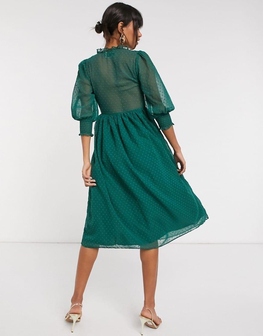 ASOS DESIGN Shirred Dobby Midi Dress