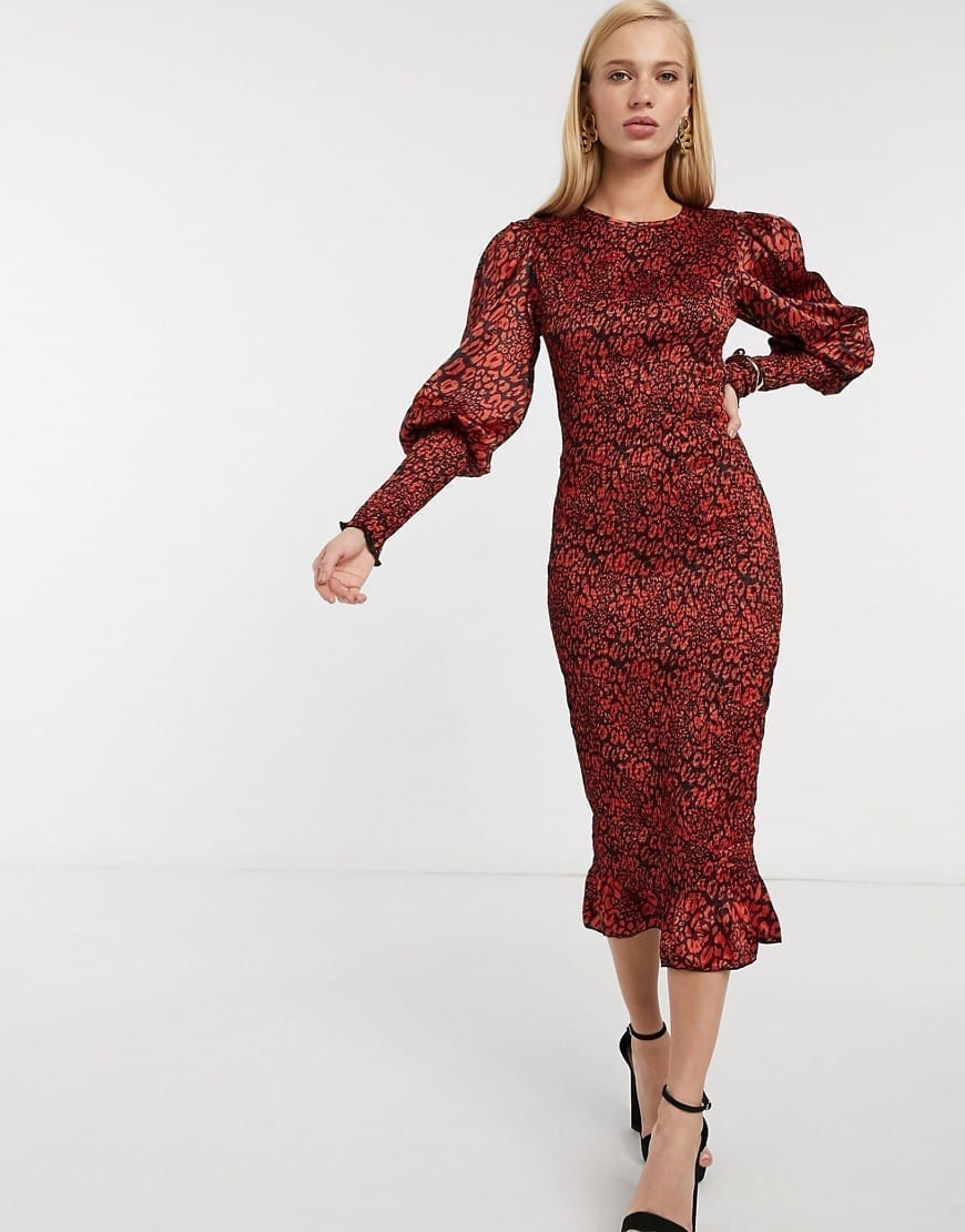 ASOS DESIGN Shirred Puff Sleeves And Shirred Cuff Midi Tea Dress