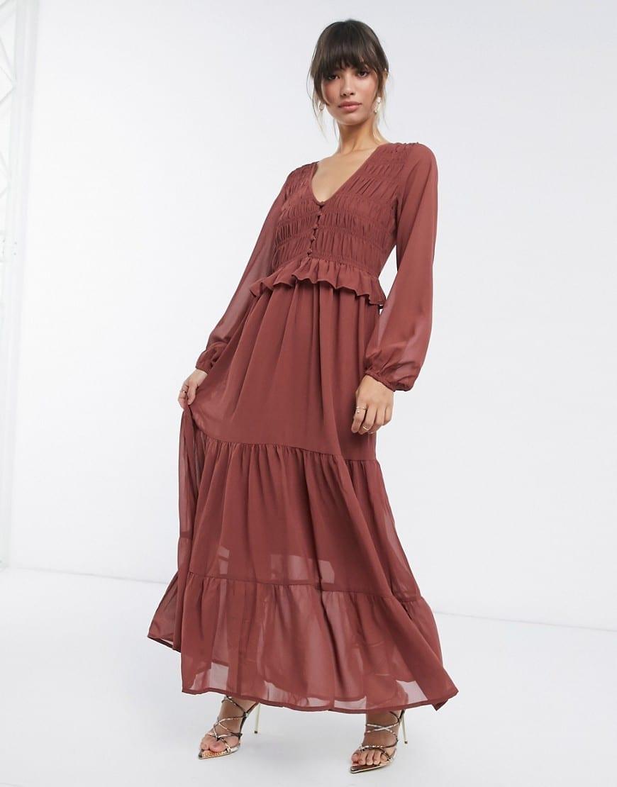 ASOS DESIGN Shirred Ruffle Tiered Maxi Dress
