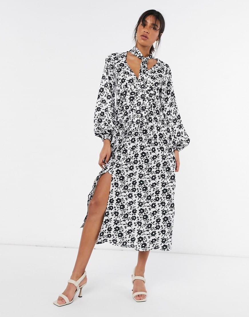 ASOS DESIGN Tie Neck Button Through Maxi Tea Dress