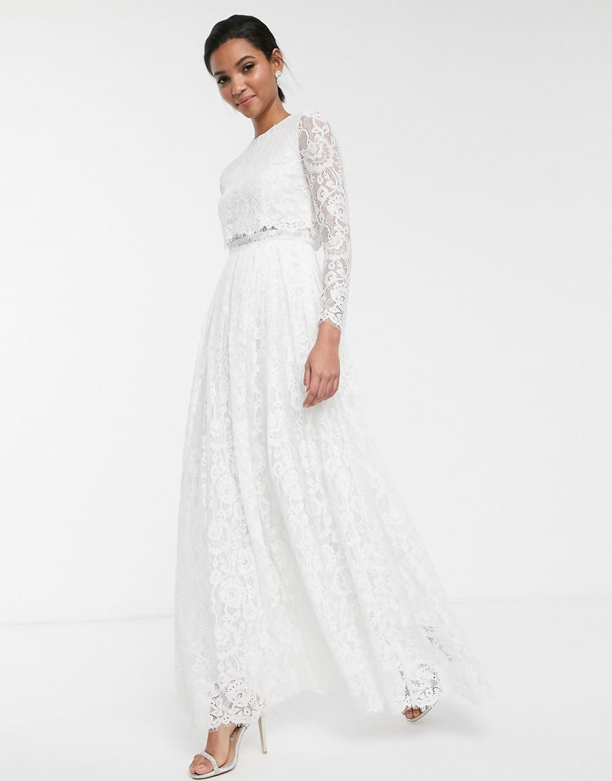 ASOS EDITION Grace Lace Long Sleeve Crop Top Maxi Wedding Dress