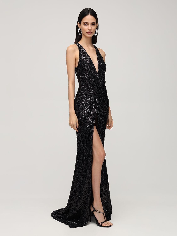 AZZARO Deep V Neck Draped Long Dress