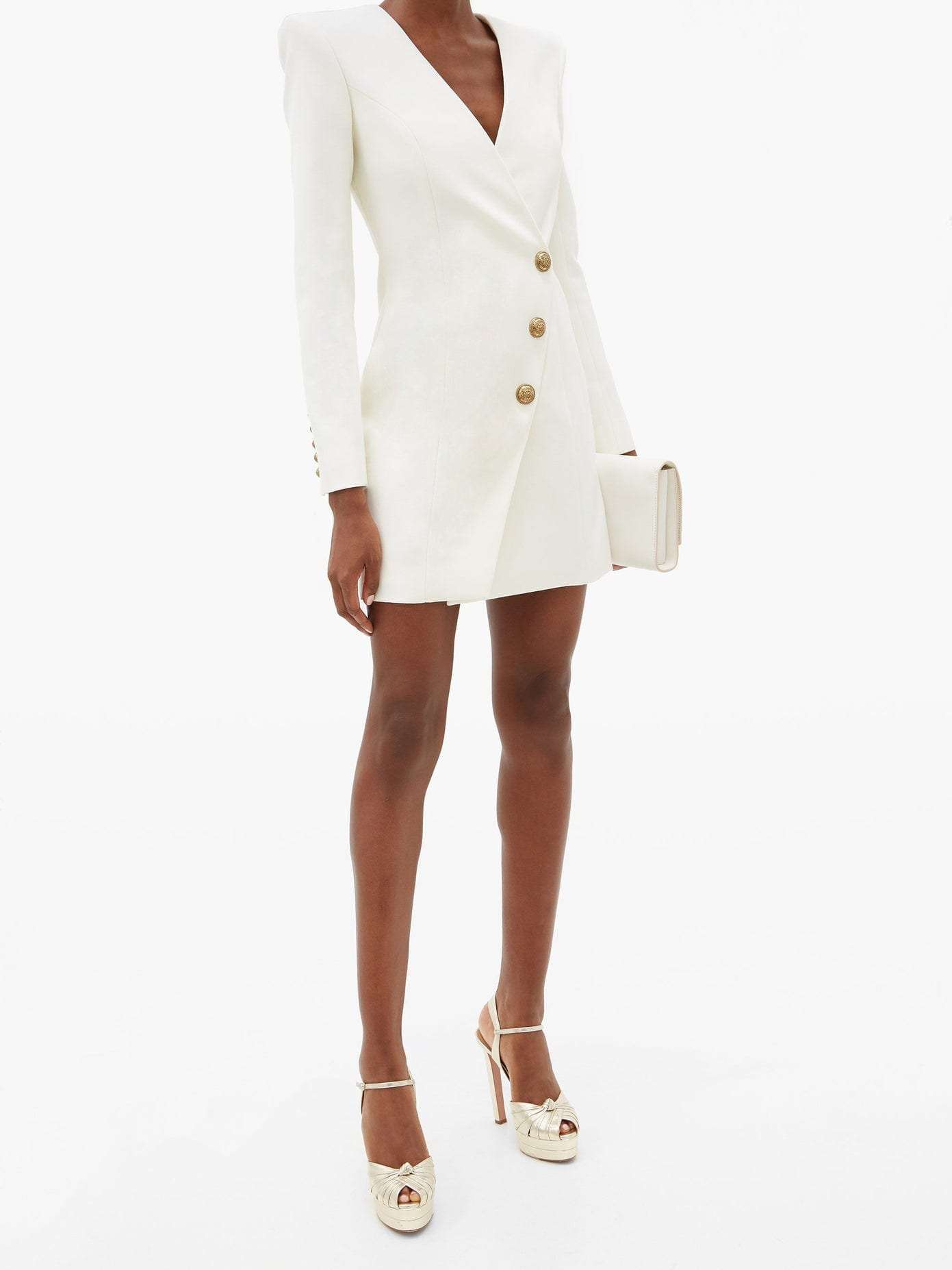 BALMAIN Collarless Double-breasted Wool Dress