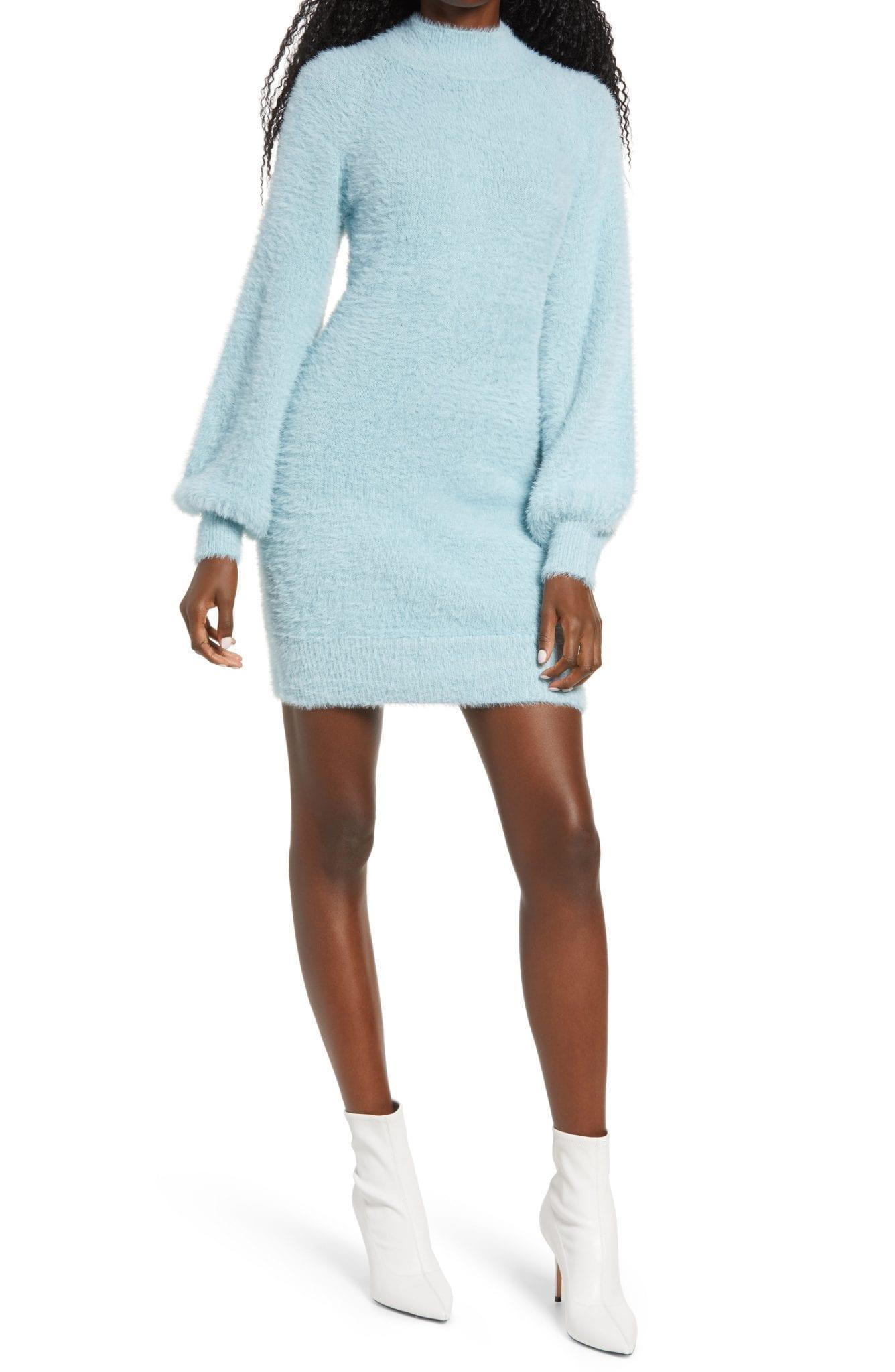 BARDOT Long Sleeve Fuzzy Sweater Mini Dress