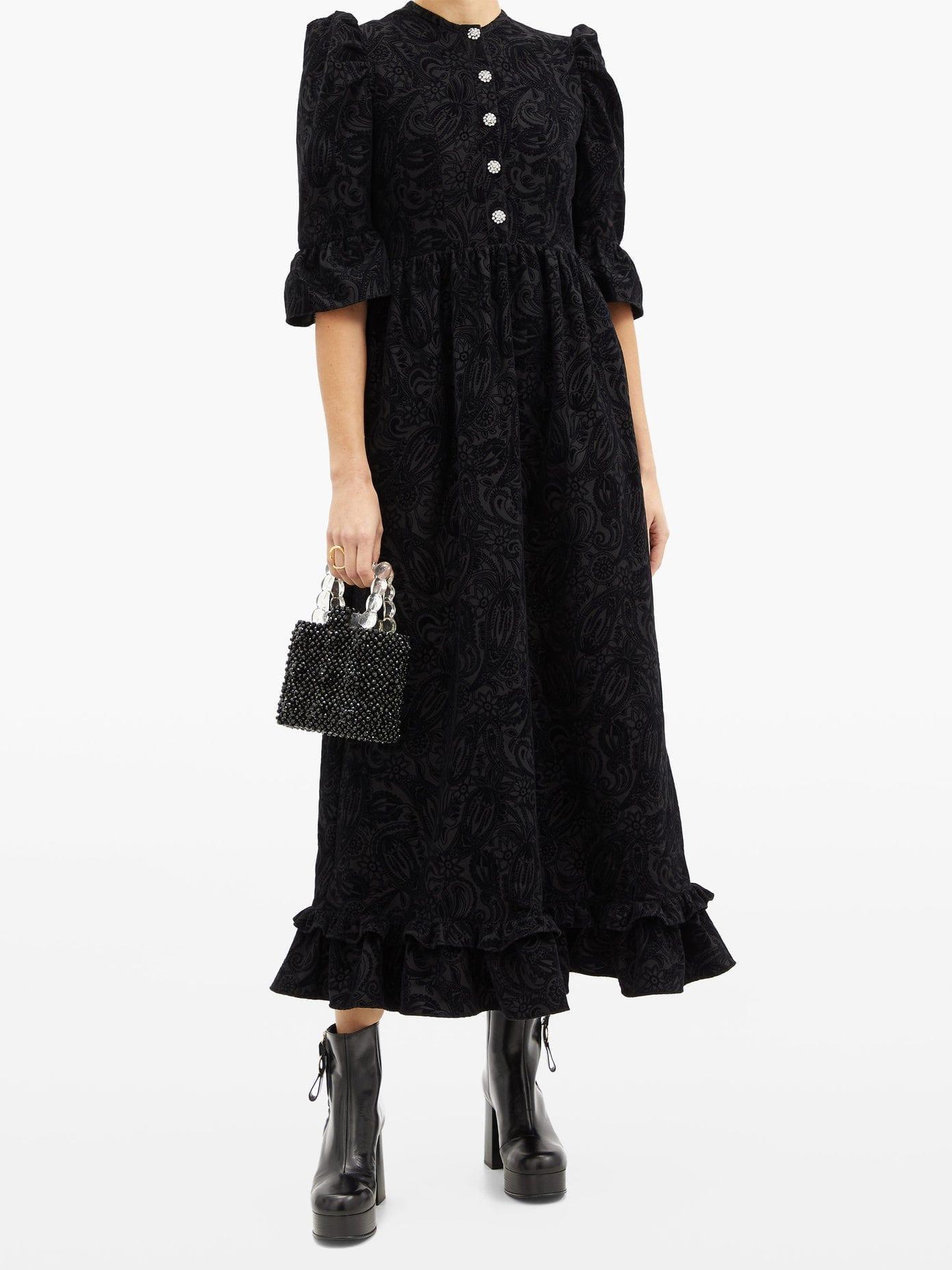 BATSHEVA Flocked-paisley Crystal-button Wool Dress
