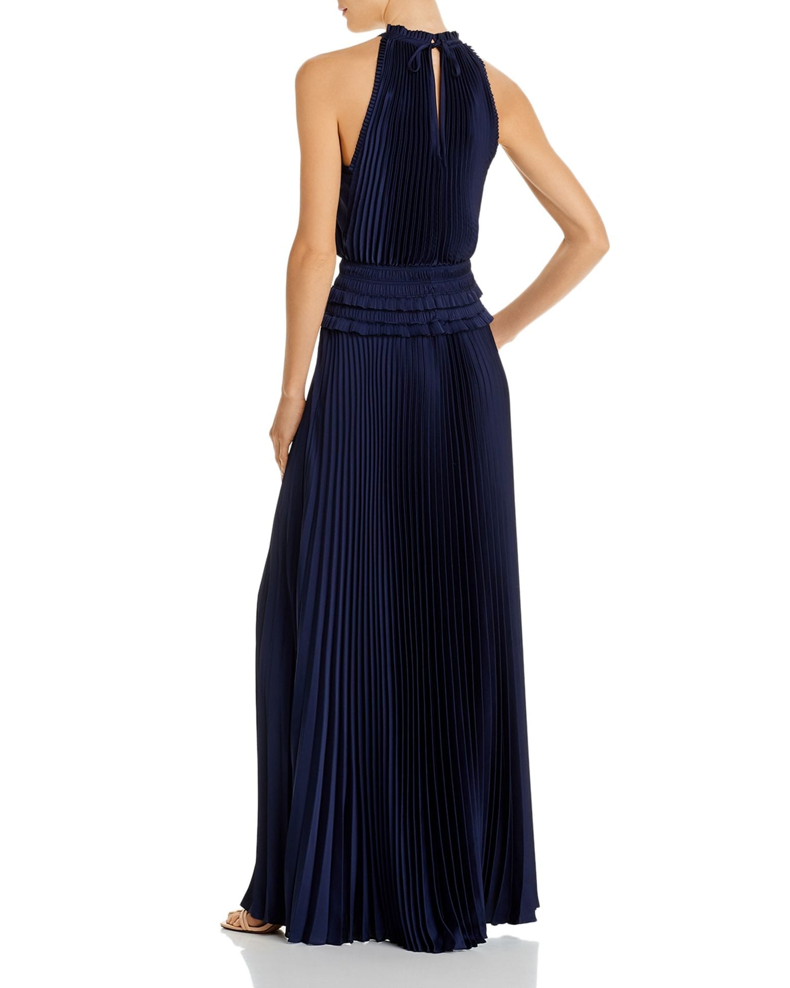 BCBGMAXAZRIA Pleated Georgette Gown