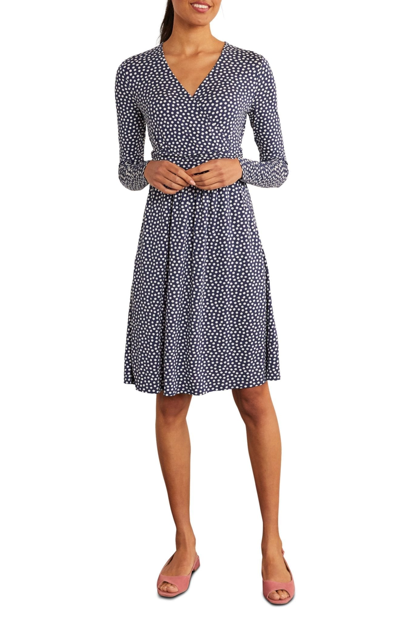 BODEN Layla Wrap Front Long Sleeve Jersey Dress