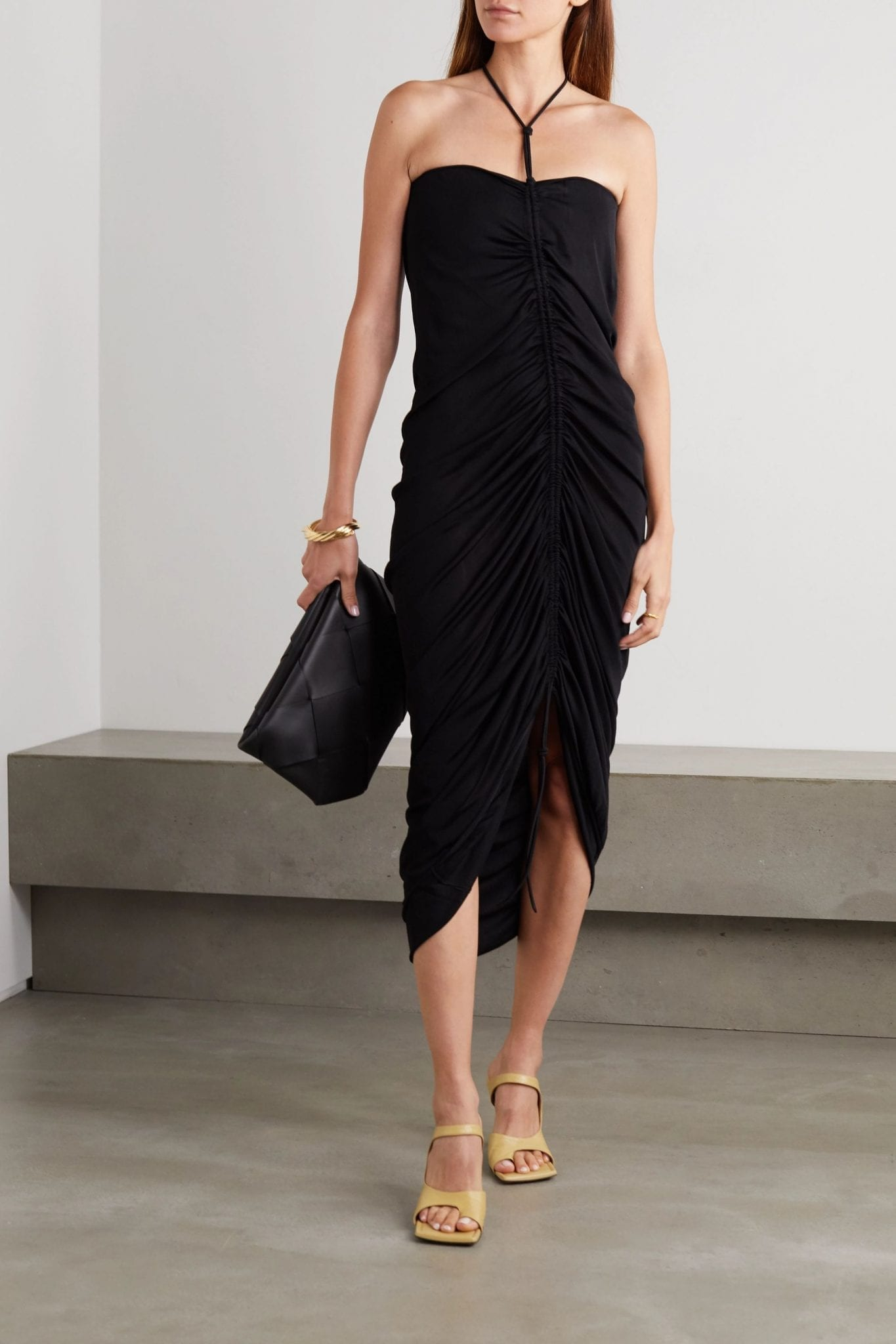 BOTTEGA VENETA Ruched Stretch-knit Halterneck Dress