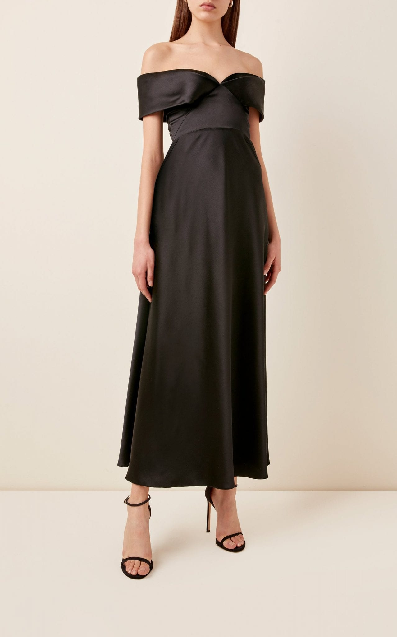 BRANDON MAXWELL Off-The-Shoulder Silk Maxi Dress