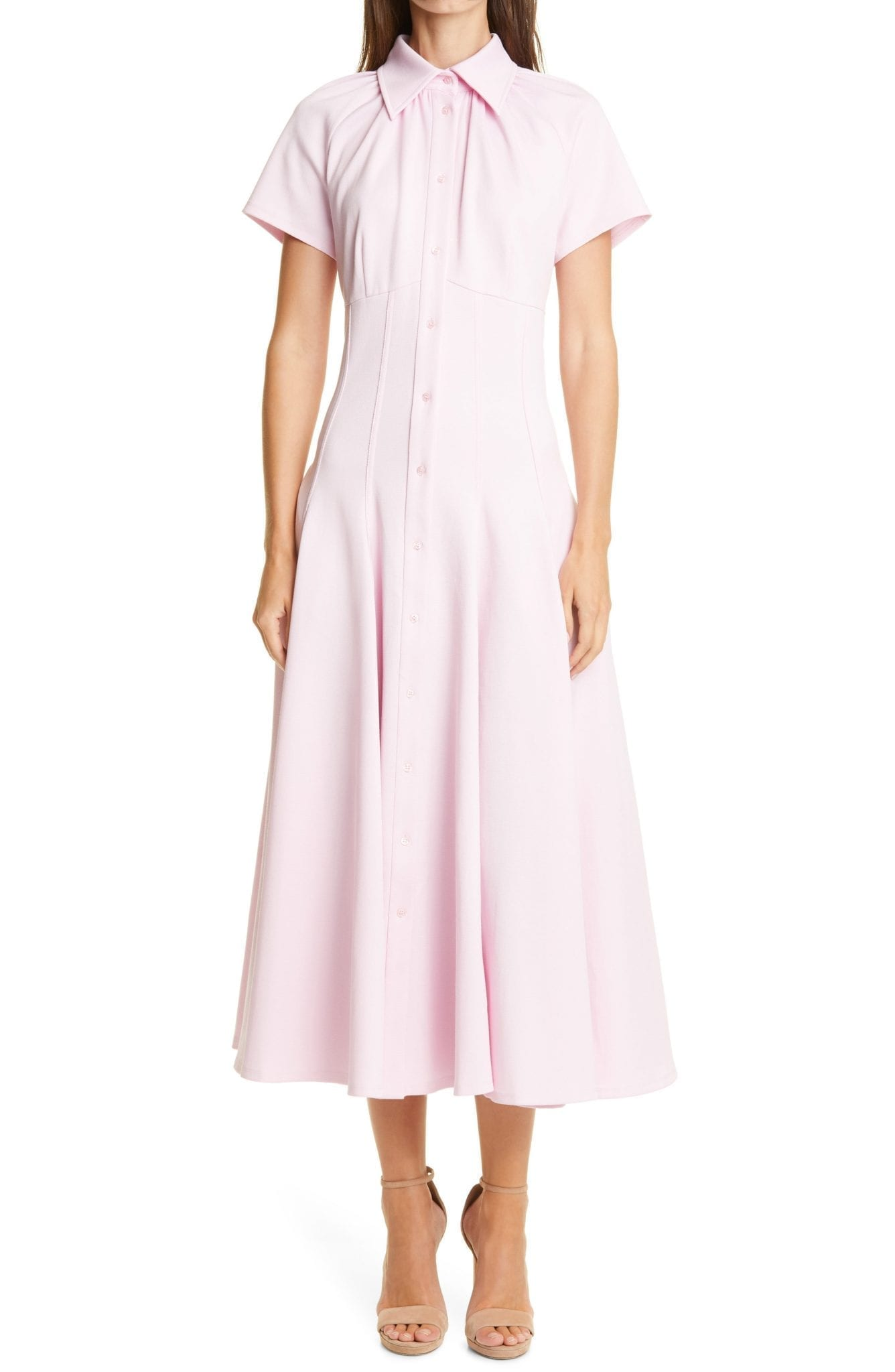 BRANDON MAXWELL Piqué Midi Shirt Dress