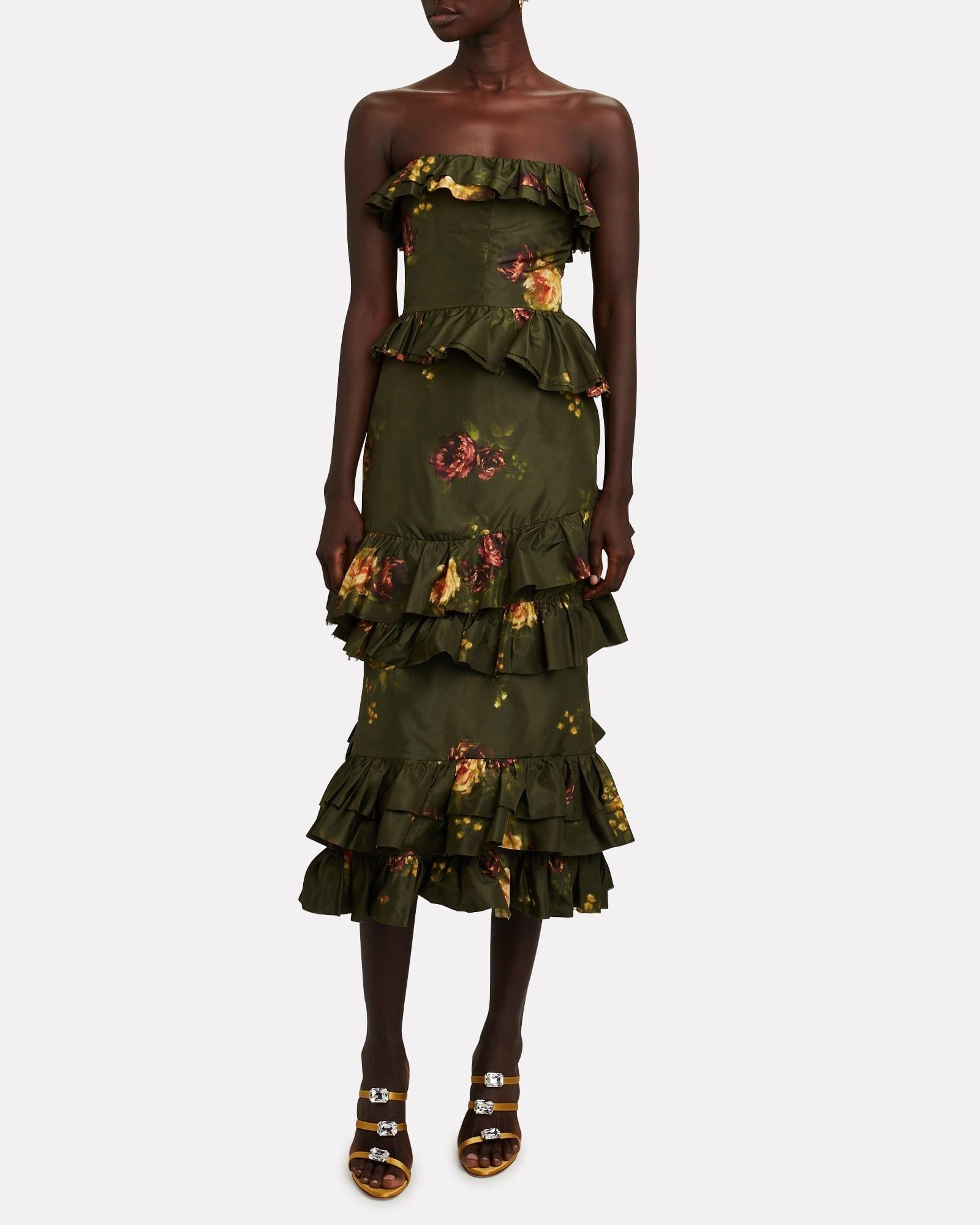 BROCK COLLECTION Strapless Floral Taffeta Midi Dress