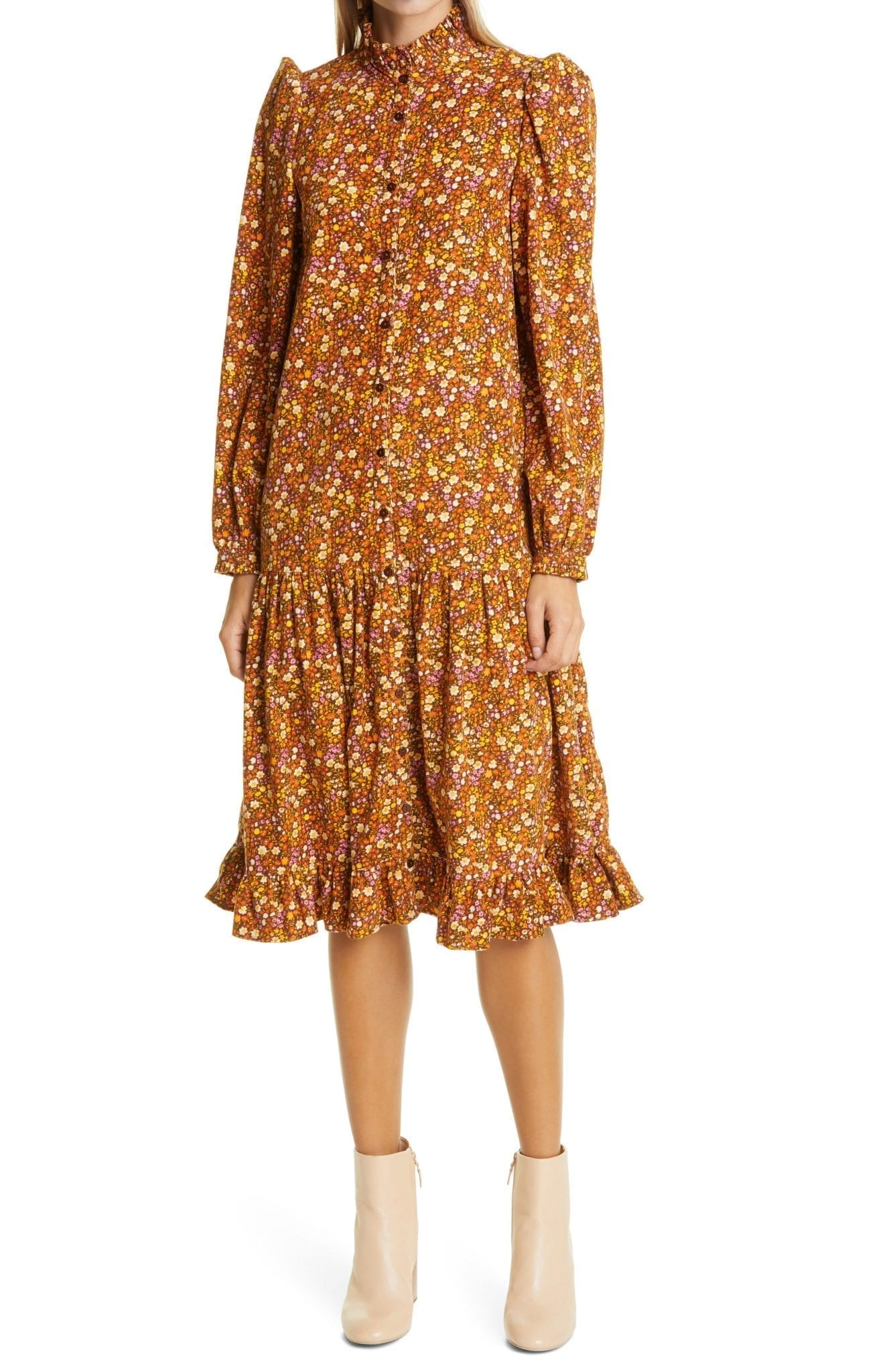 BYTIMO Floral Ditsy Long Sleeve Corduroy Midi Dress