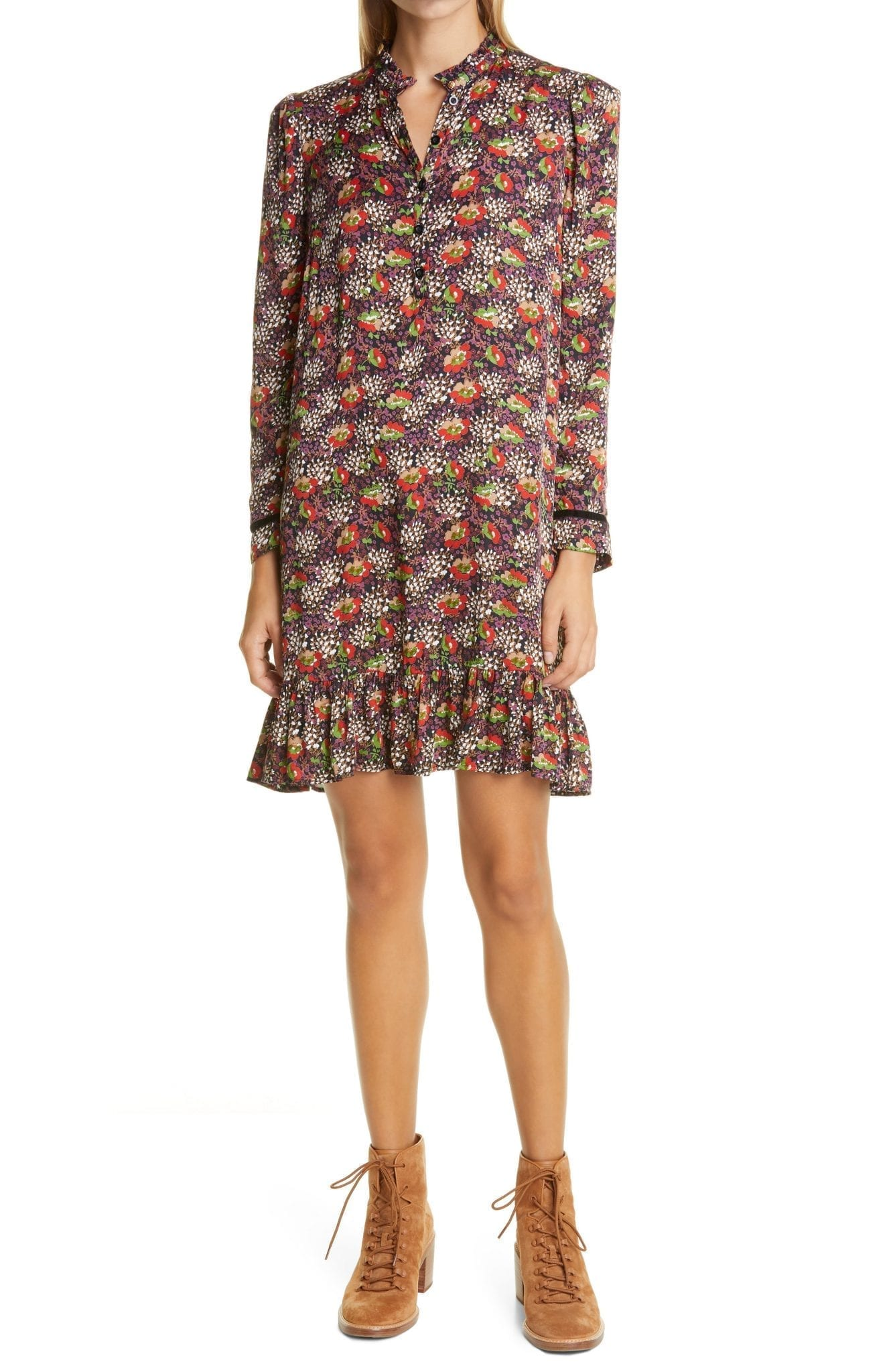 BYTIMO Floral Satin Shift Dress