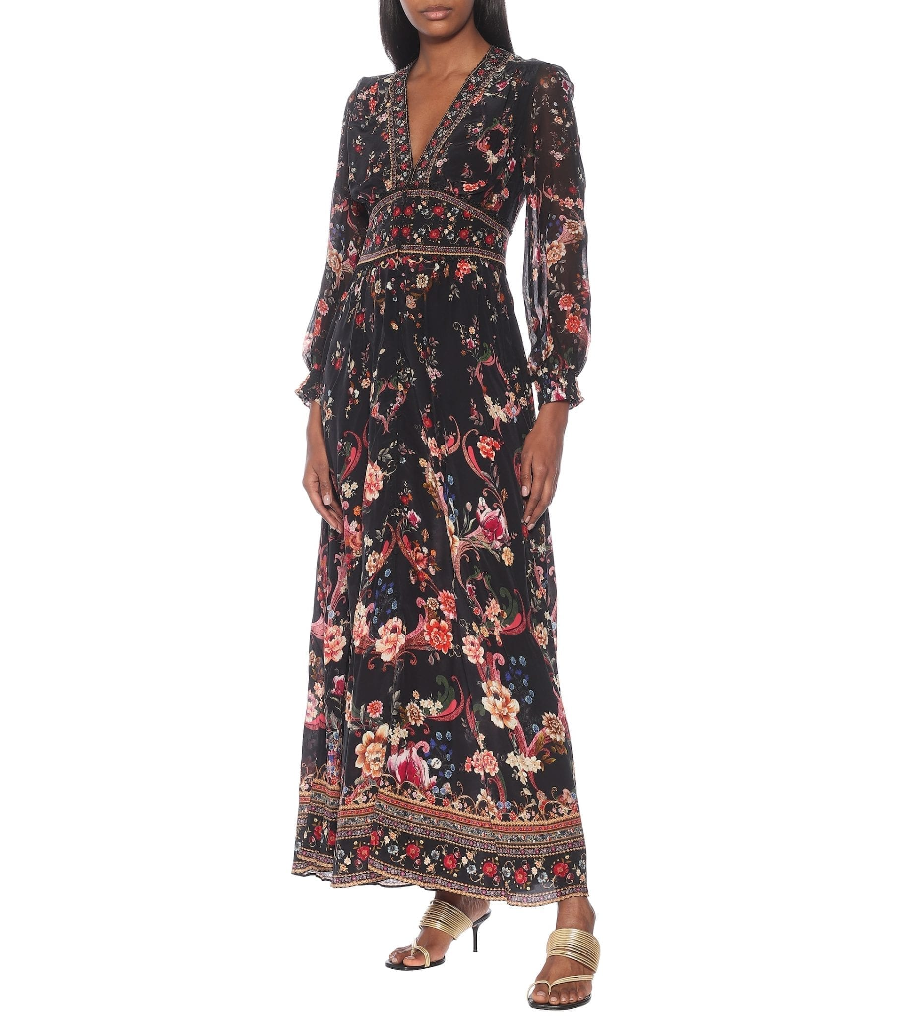 CAMILLA Embellished Floral Silk Maxi Dress