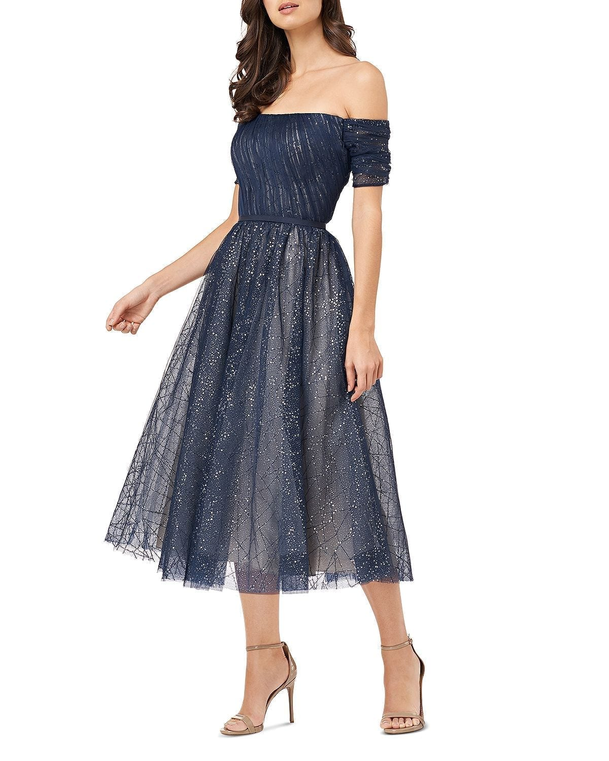 CARMEN MARC VALVO INFUSION Infusion Off-the-Shoulder Sparkle Mesh Dress