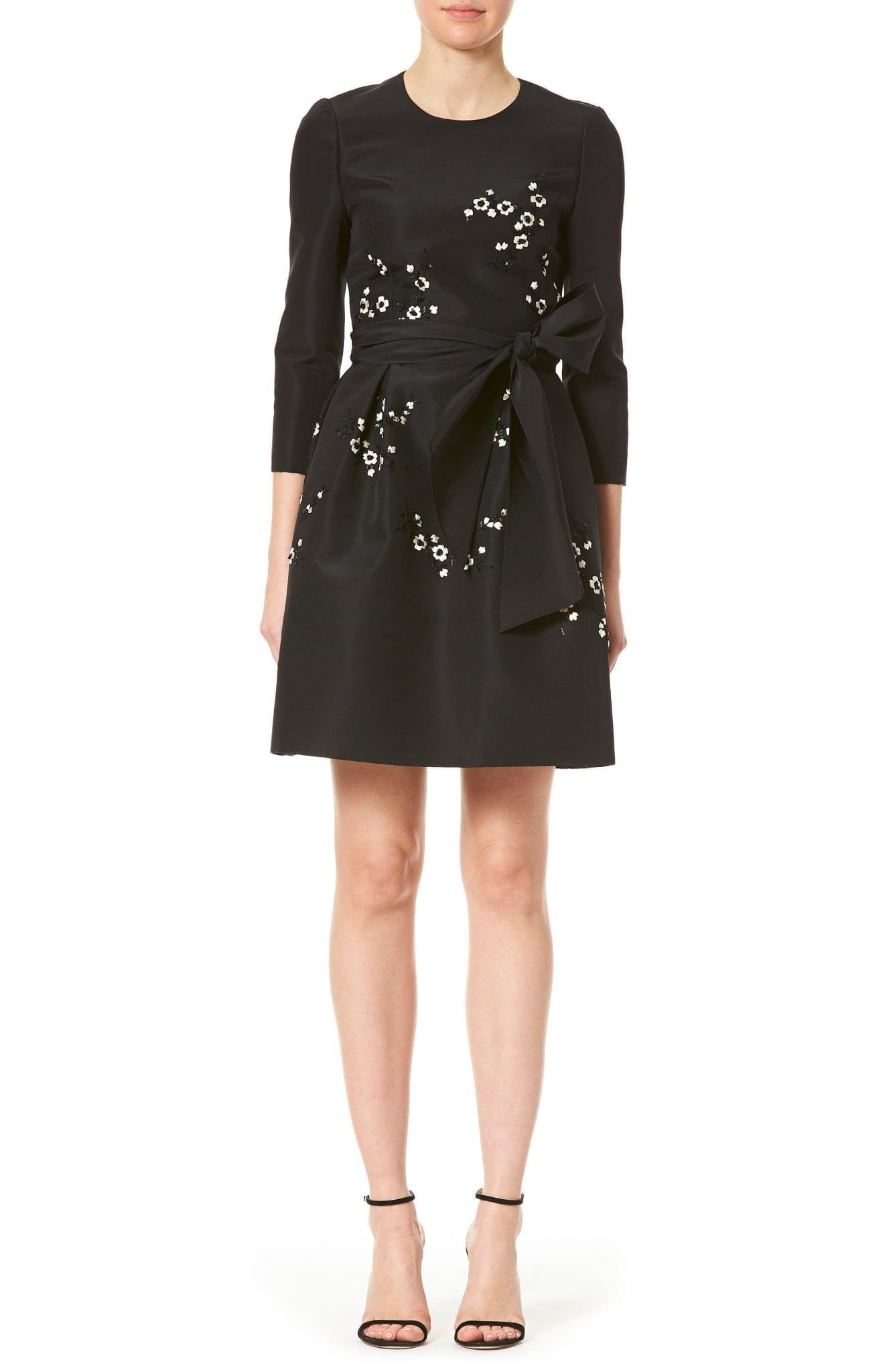 CAROLINA HERRERA Embellished Bow Front Silk Dress