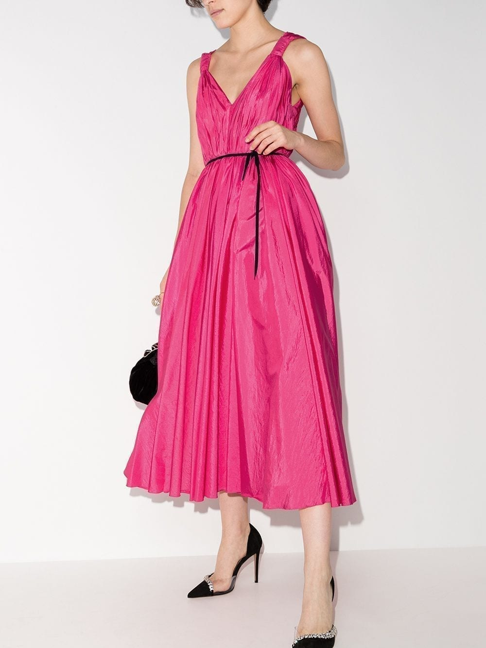 CAROLINA HERRERA Gathered Flared-design Midi Dress
