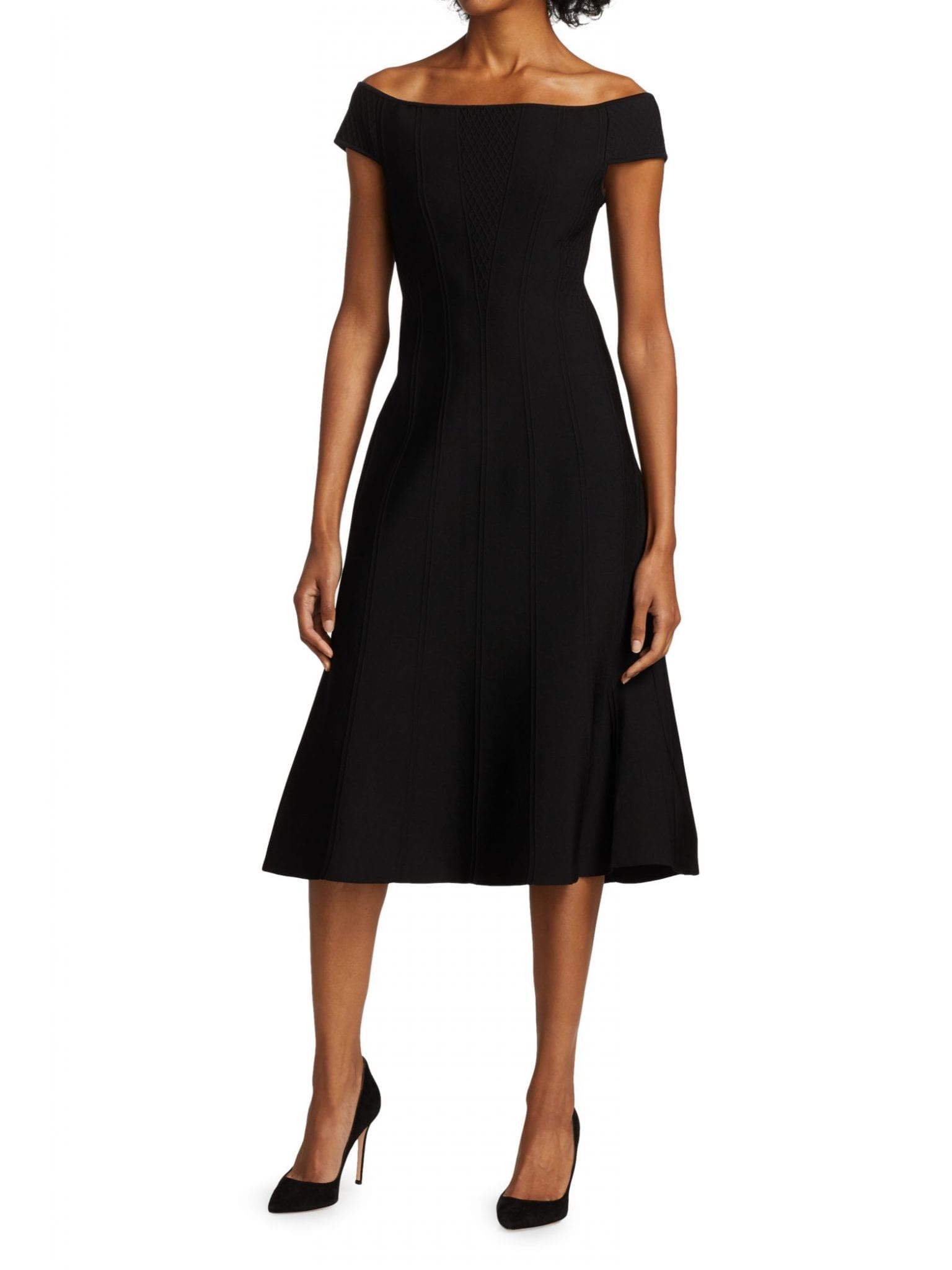 CAROLINA HERRERA Ottoman Corset Knit Midi Dress