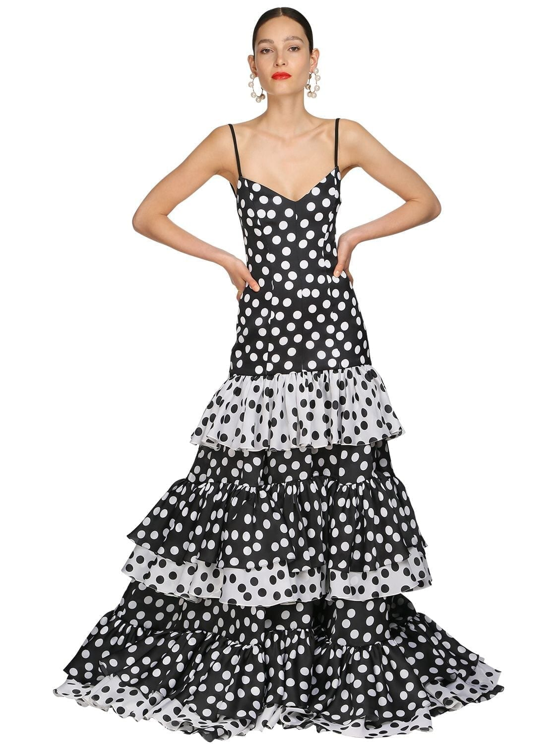 CAROLINA HERRERA Printed Silk Taffeta Long Dress
