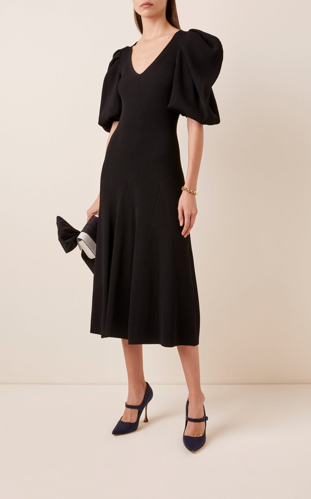 CAROLINA HERRERA Puffed-Sleeve Ribbed-Knit Midi Dress
