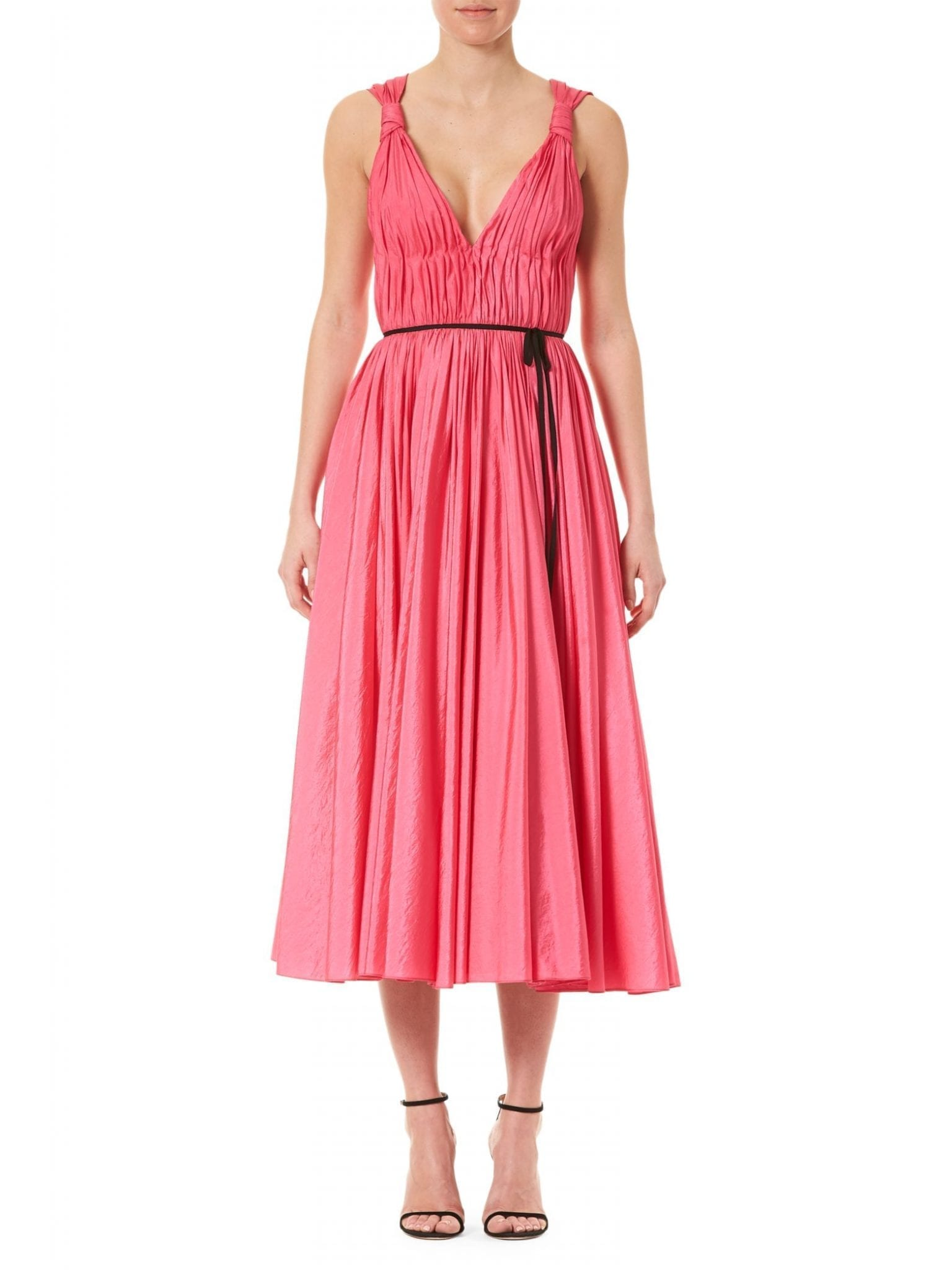 CAROLINA HERRERA Sleeveless Taffeta V-Neck Bow Dress