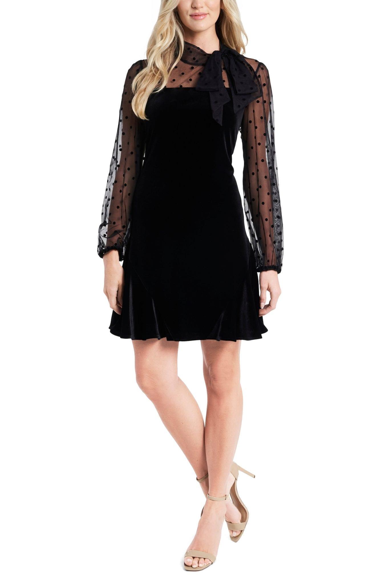 CECE Mixed Media Velvet Long Sleeve Mini Dress