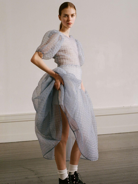 CECILIE BAHNSEN Carmen Organza Midi Dress