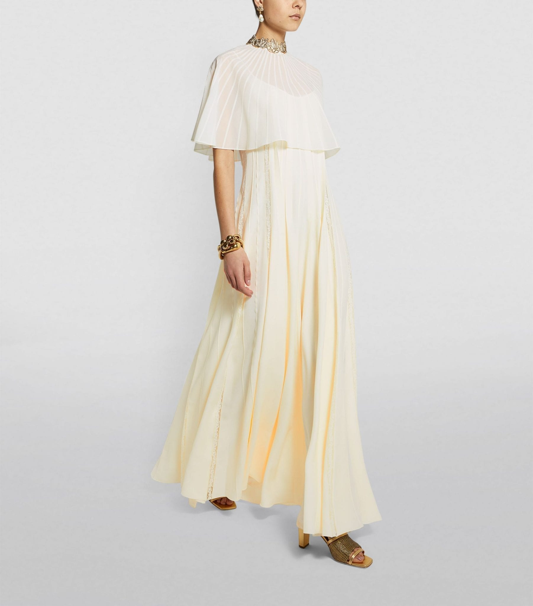 CHLOÉ Cape-Top Silk Crepe de Chine Gown