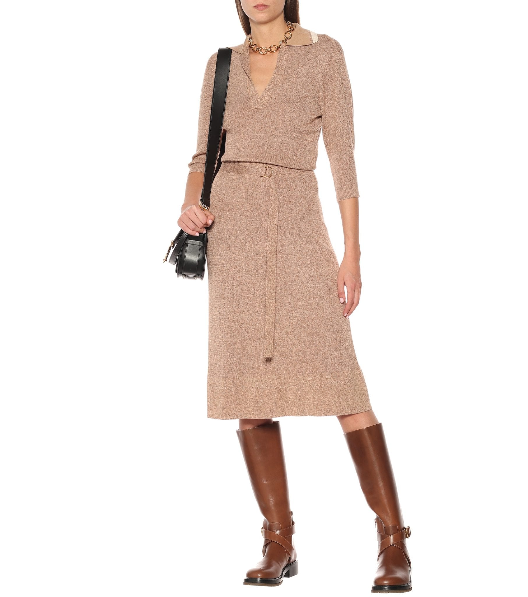 CHLOÉ Wool And Silk Knit Midi Dress