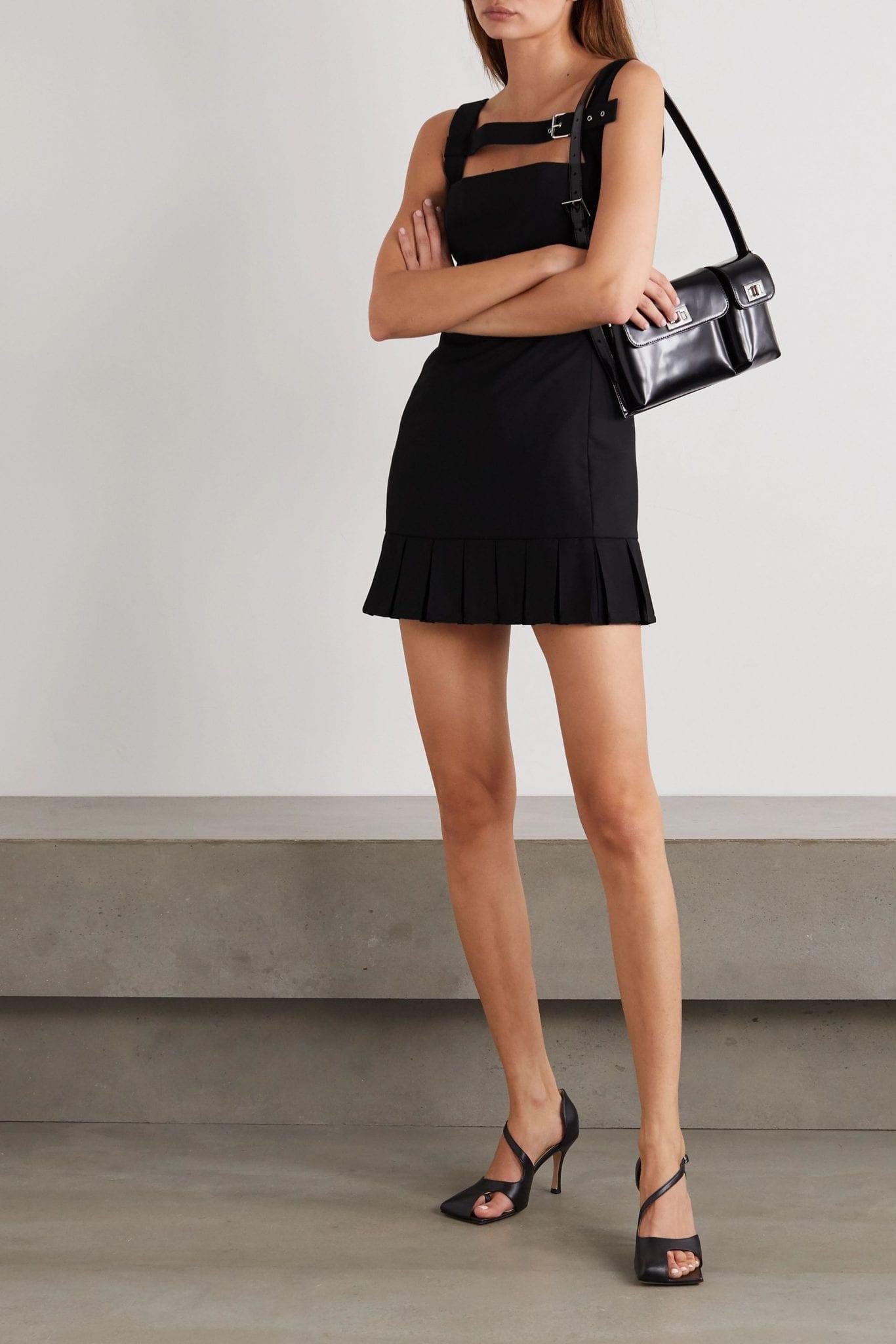 COPERNI Buckled Pleated Wool Mini Dress