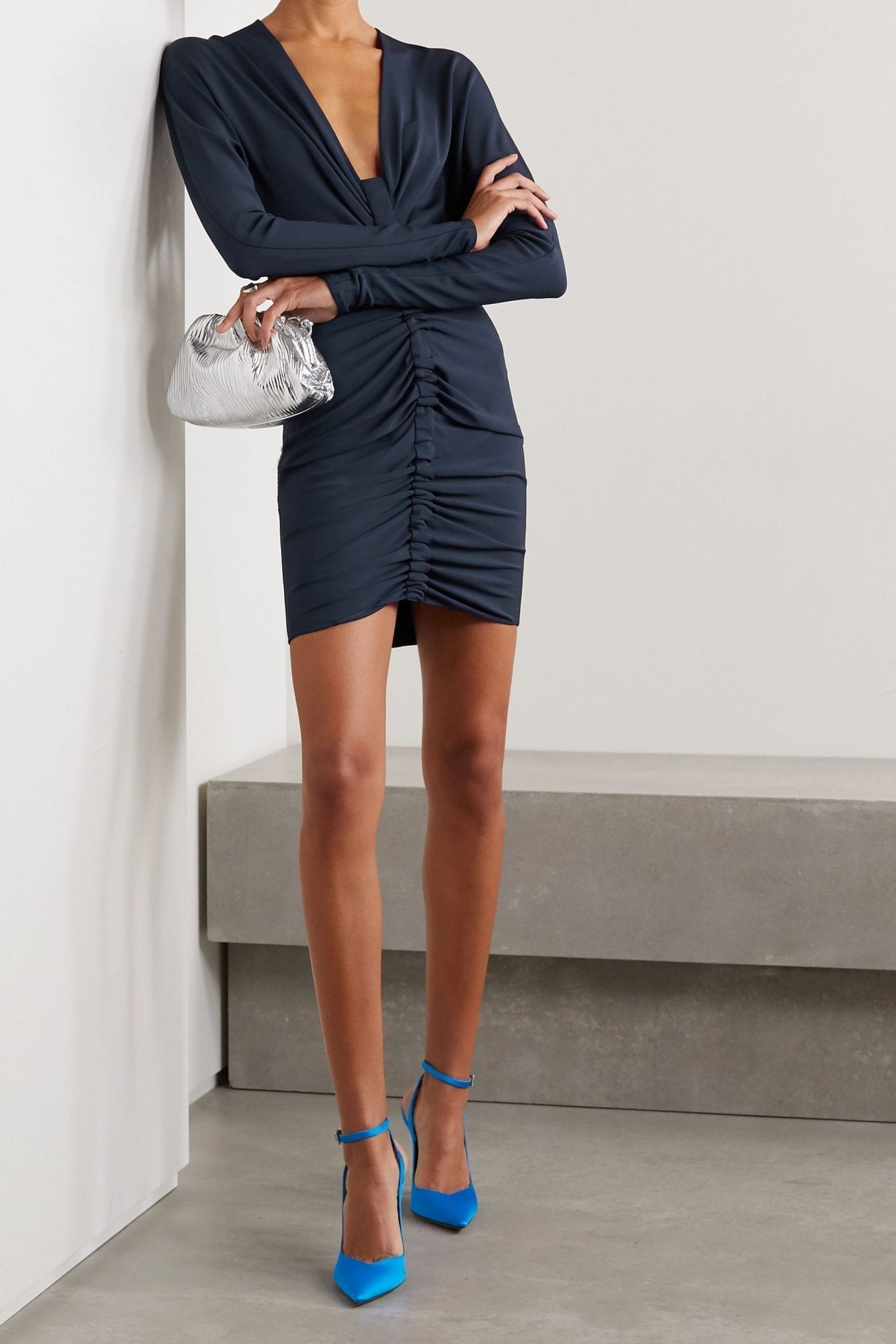 CUSHNIE Ruched Stretch-jersey Mini Dress