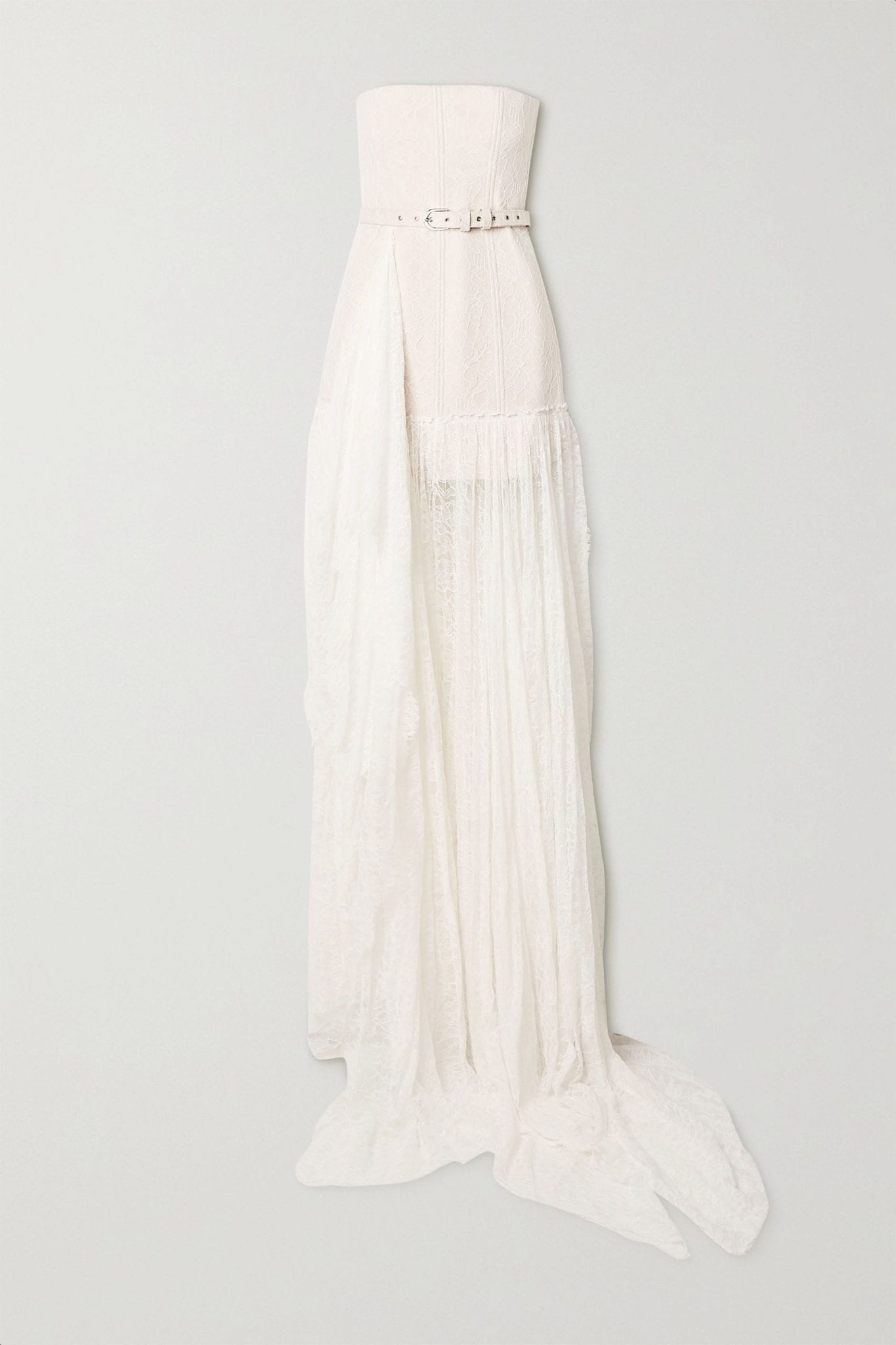DANIELLE FRANKEL Delphine Strapless Belted Corded Lace Gown