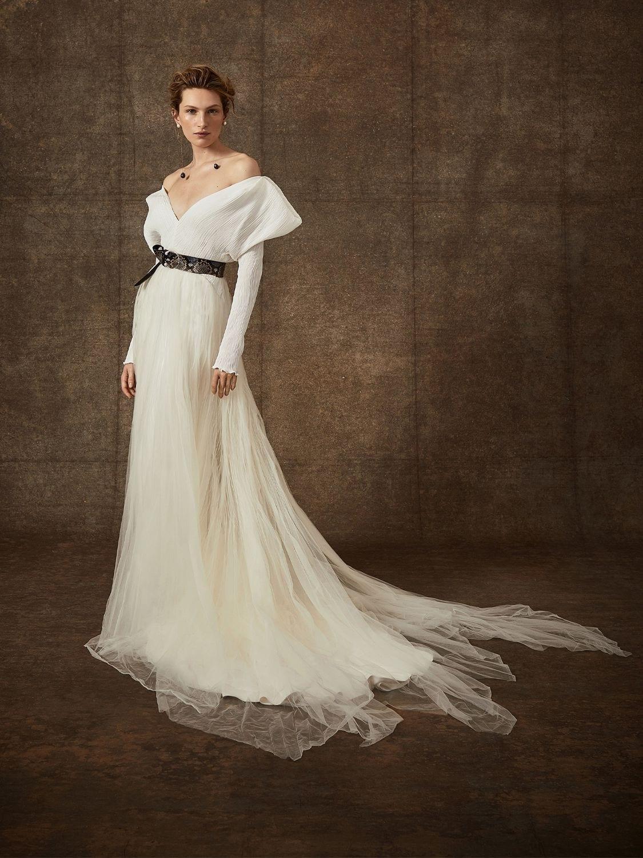 DANIELLE FRANKEL Pleated Georgette Dress