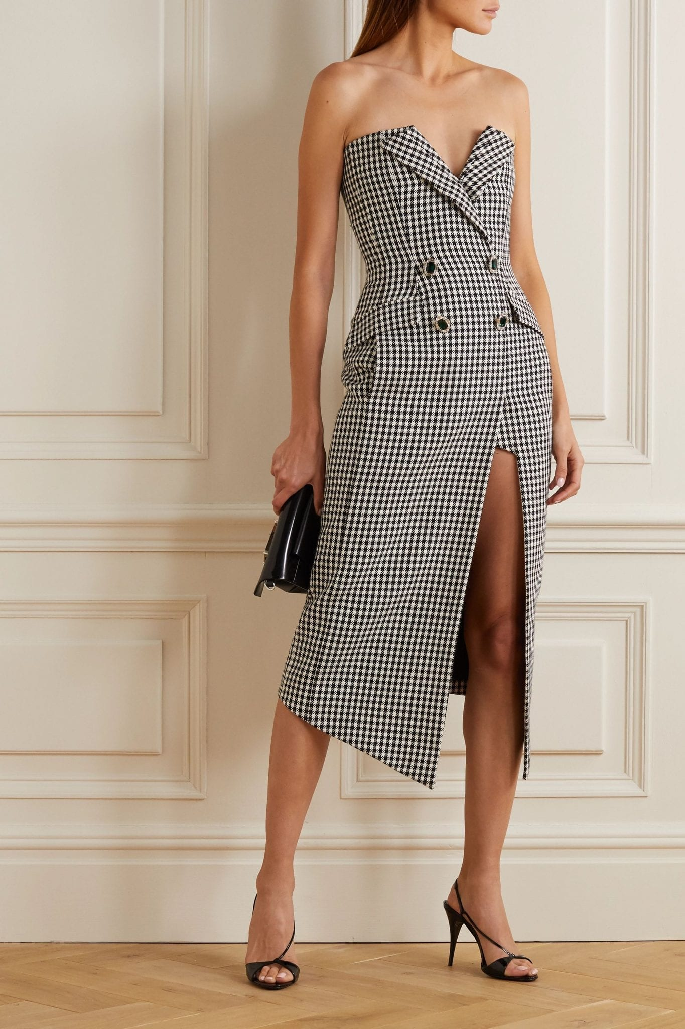 DAVID KOMA Embellished Strapless Houndstooth Cotton And Wool-blend Midi Dress
