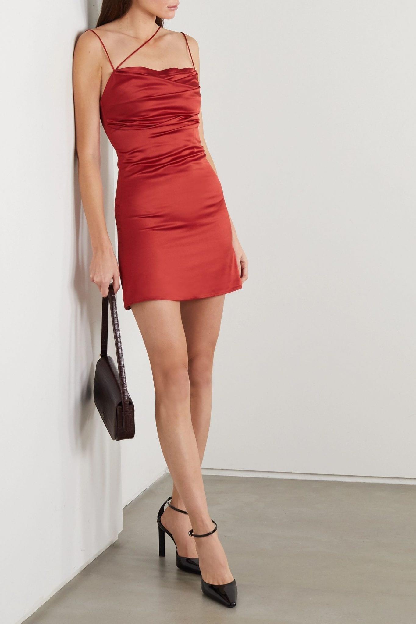 DE LA VALI Frisco Draped Satin Mini Dress