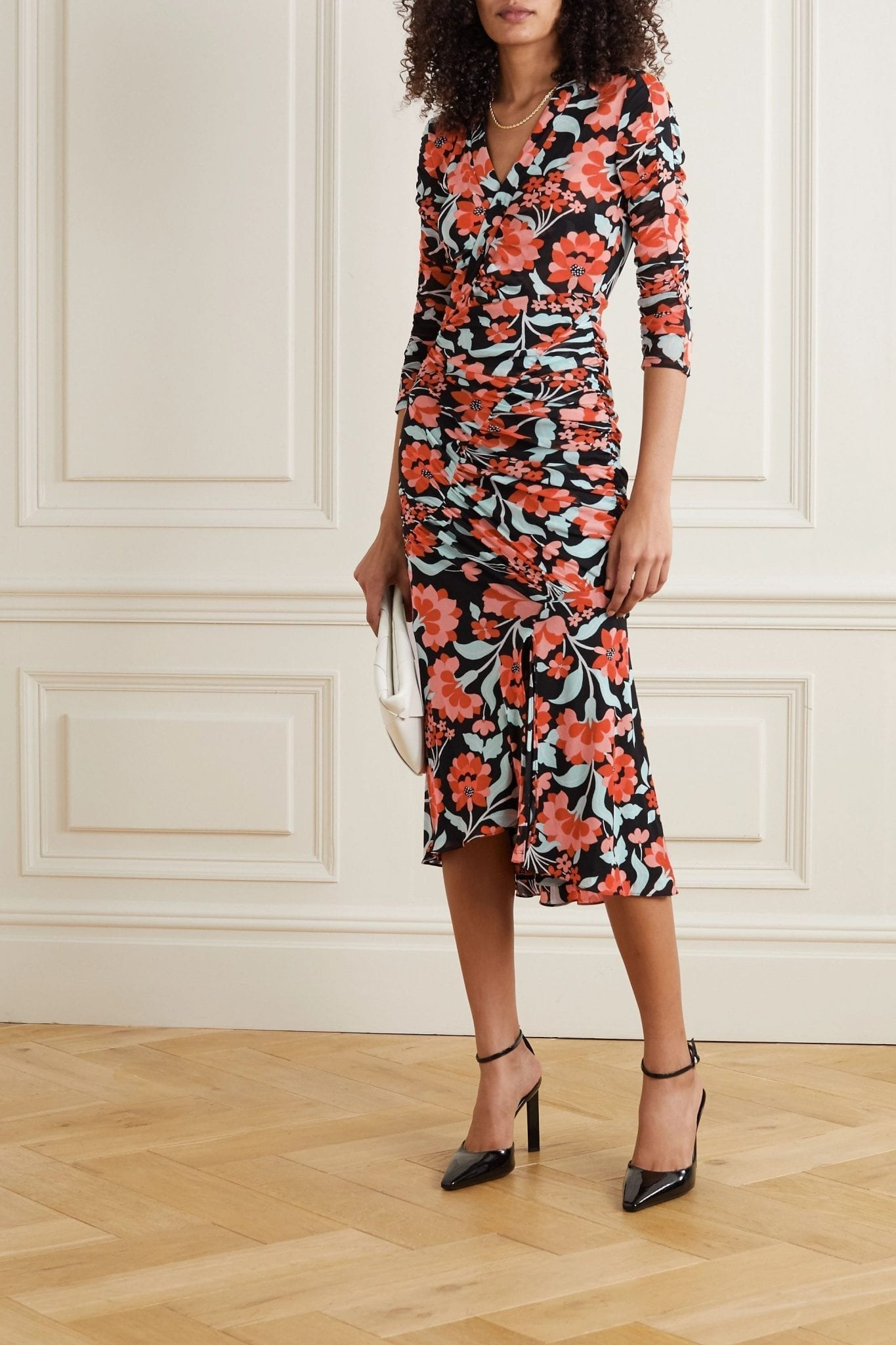 DIANE VON FURSTENBERG Briella Wrap-effect Ruched Floral-print Jersey Midi Dress