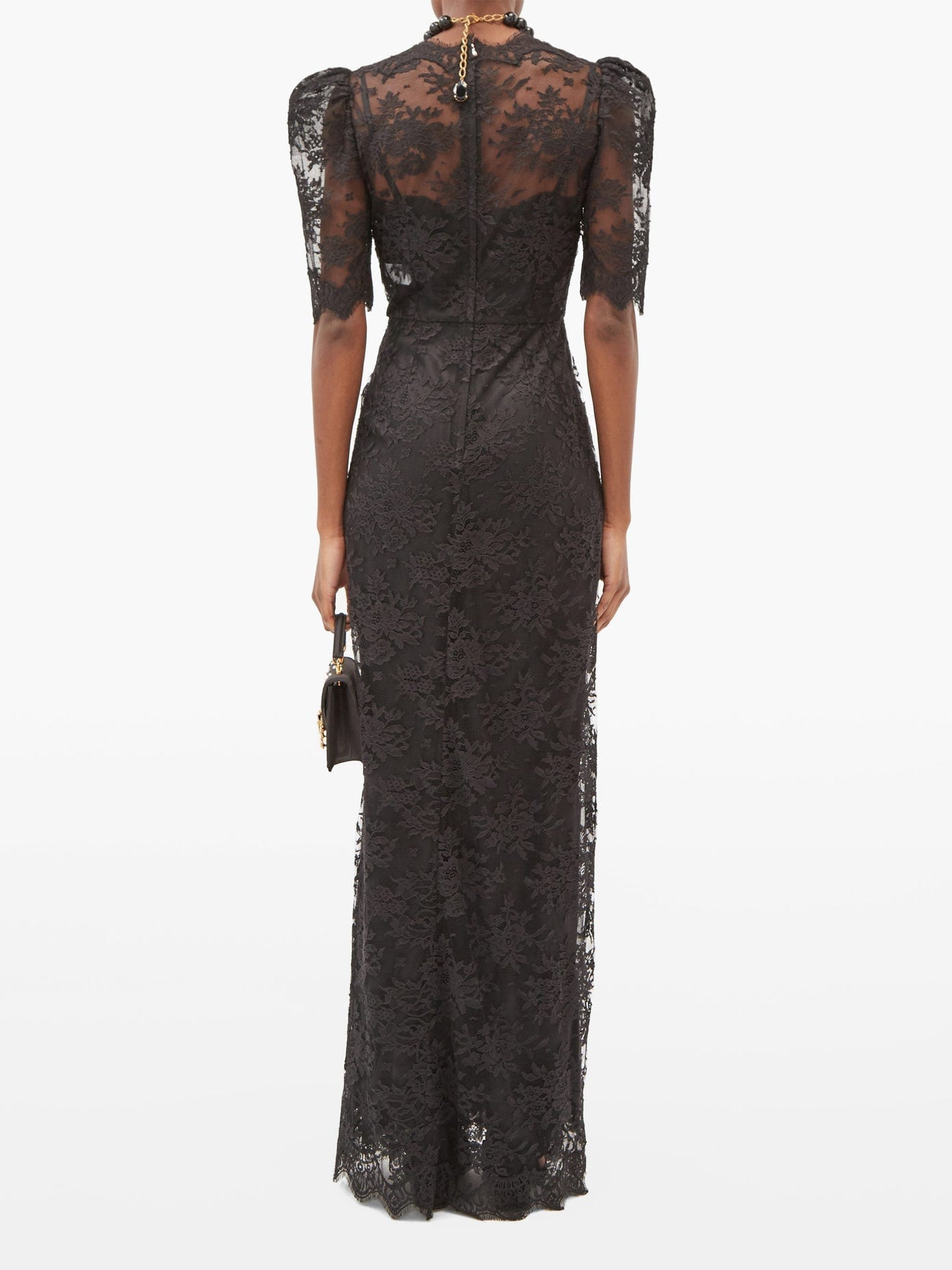 DOLCE & GABBANA Puff-sleeve Cotton-blend Chantilly-lace Gown