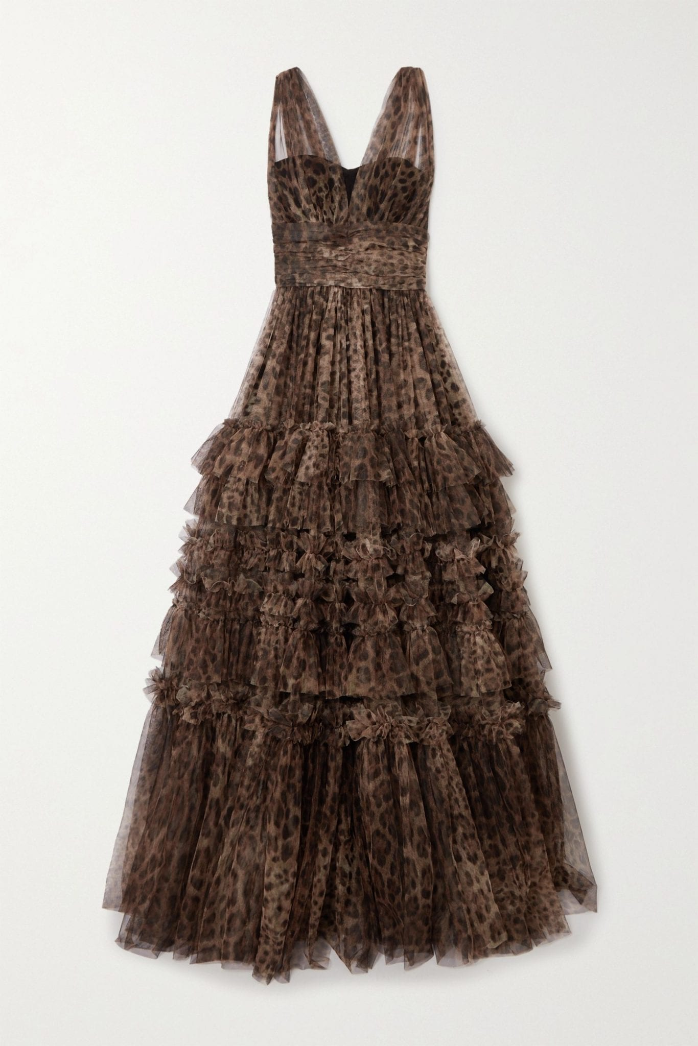 DOLCE & GABBANA Ruffled Tiered Leopard-print Tulle Gown