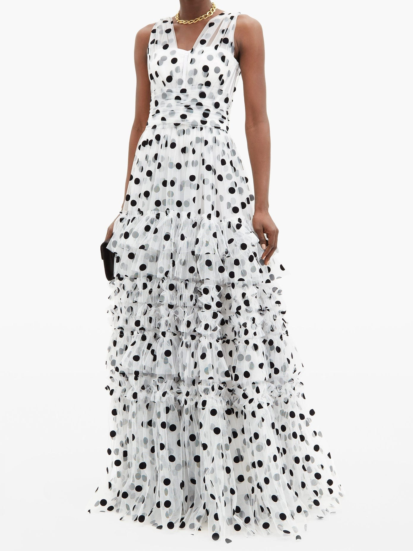 DOLCE & GABBANA Tiered Polka-dot Tulle Gown