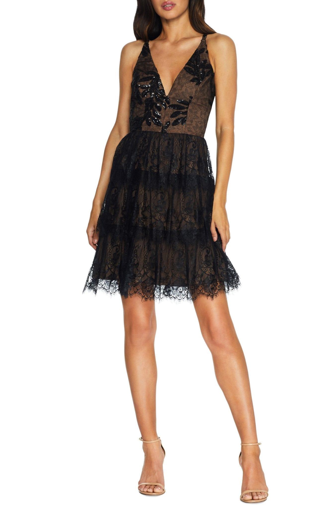 DRESS THE POPULATION Nellie Sequin Lace Fit & Flare Mini Dress