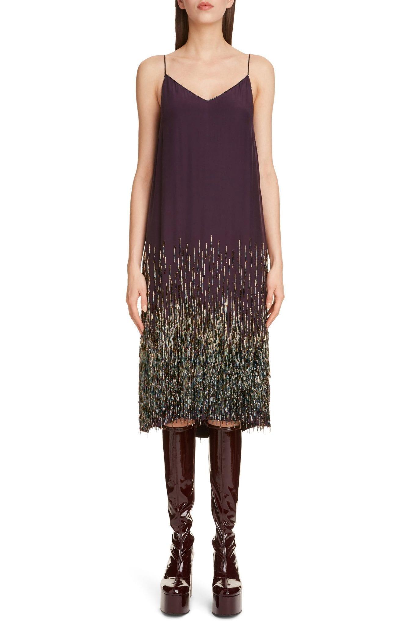 DRIES VAN NOTEN Beaded Silk Slip Dress