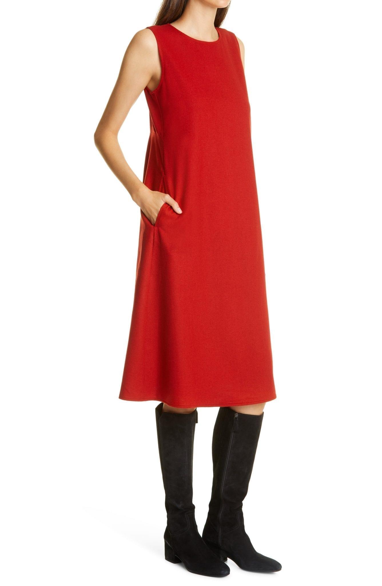 EILEEN FISHER Soft Wool Flannel Dress