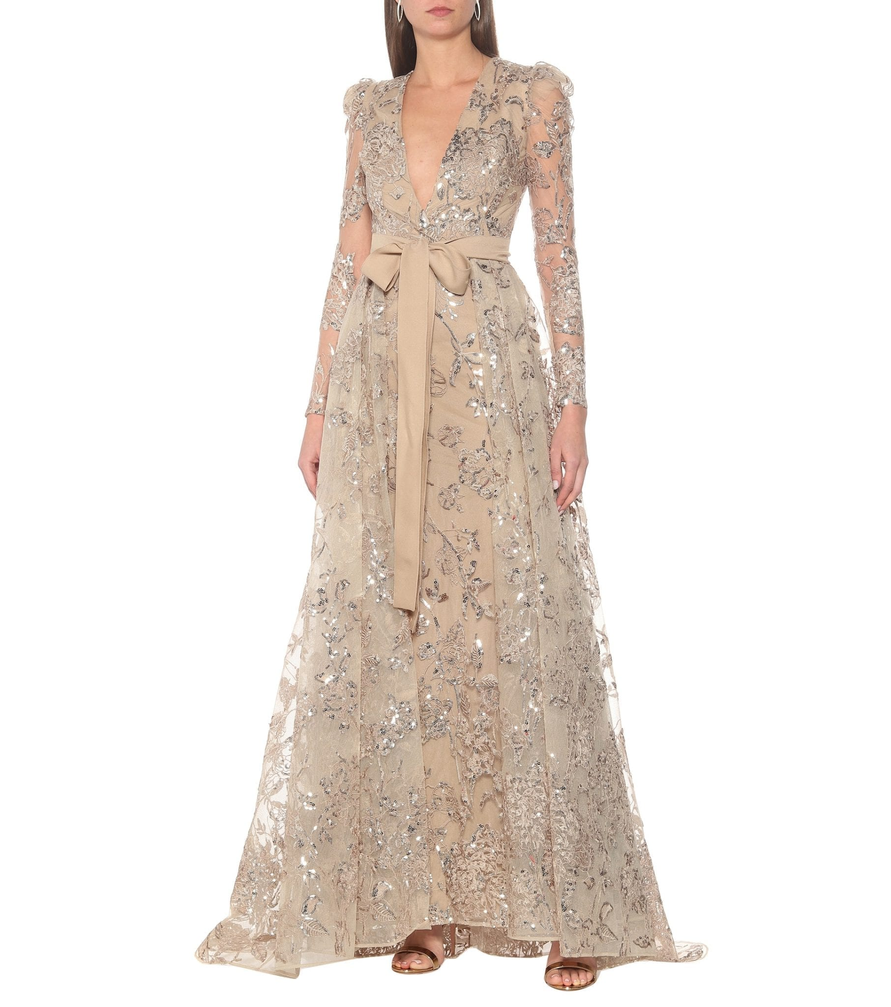 ELIE SAAB Embroidered Long-sleeved Gown
