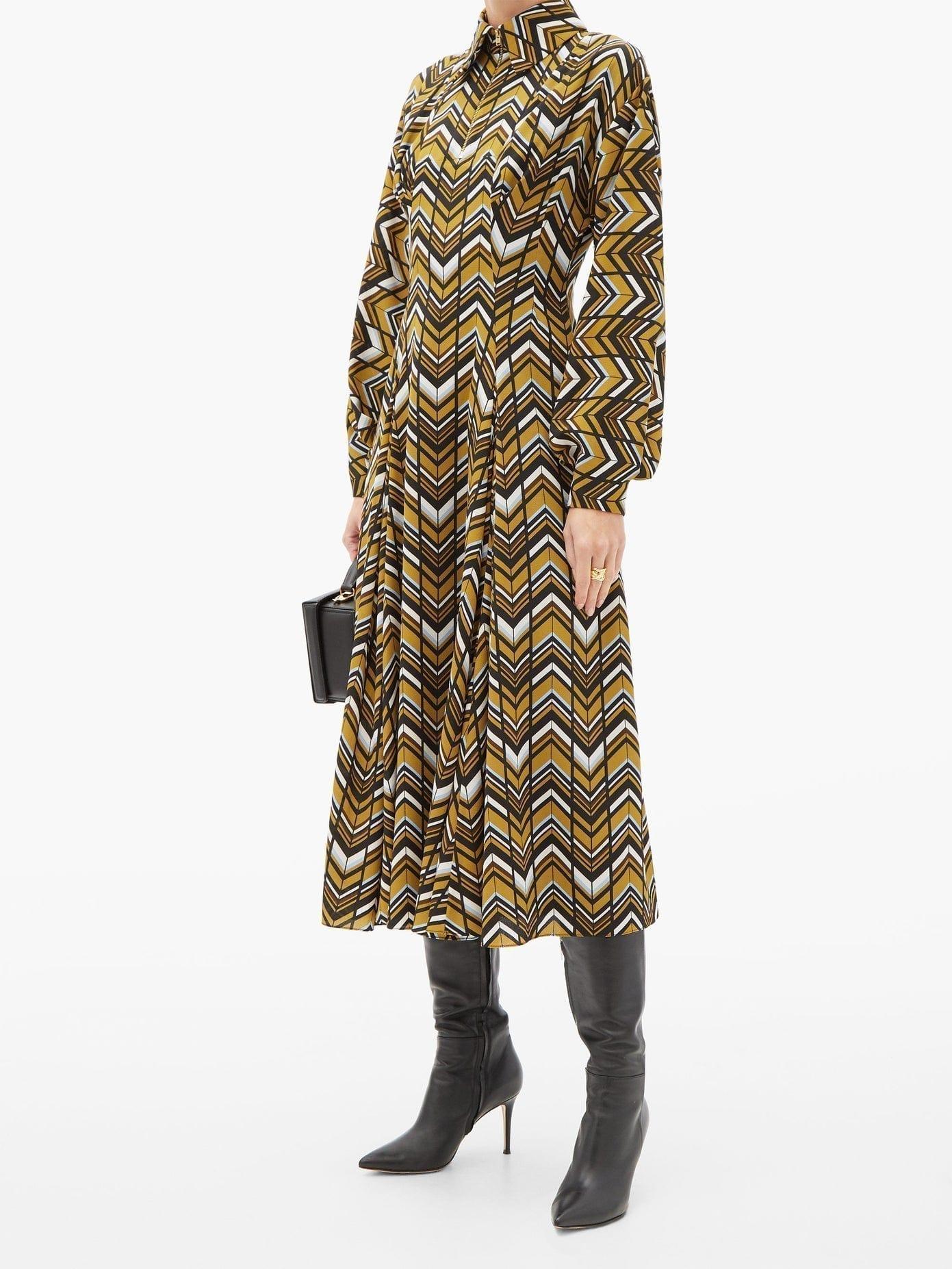 EMILIA WICKSTEAD Dannie Zigzag-print Crepe Shirt Dress