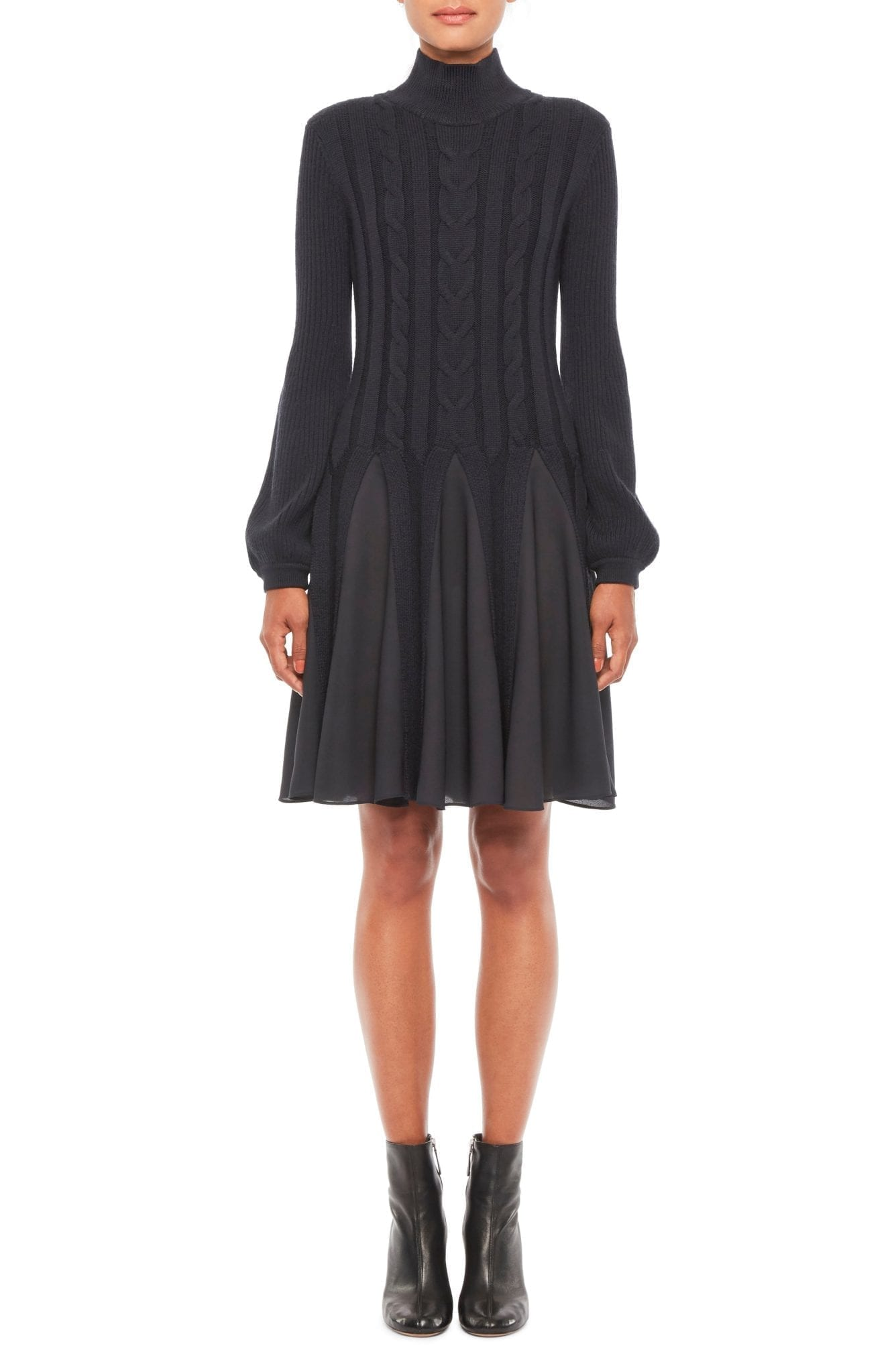 EMPORIO ARMANI Mix Media Fit & Flare Sweater Dress